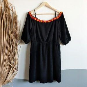 Cece Skye 3/4 Cold Shoulder Leaf Embroidered Dress